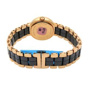 Wittnauer Ceramic Rose Gold Tone Steel Black Dial Ladies Quartz Watch 12P102