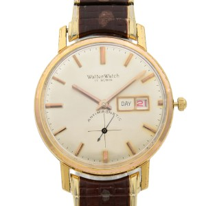 Walter 18k Gold Plated Steel Day Date Expansion Bracelet Hand Wound Mens Watch