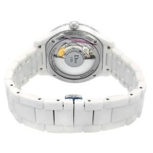 Dior VIII Silver Dial White Ceramic Steel Diamond Automatic Watch CD1245E3C002