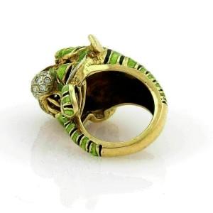 Modele Depose Diamonds & Enamel 18k Yellow Gold Tiger Ring