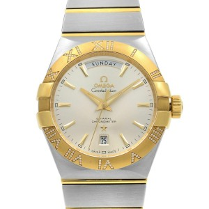Omega Constellation Steel Gold Diamonds Automatic Mens Watch 123.25.38.22.02.002