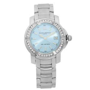 Baume et Mercier Capeland S Steel Diamond Blue Dial Quartz Ladies Watch 65435