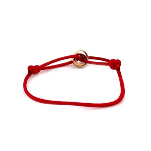 Cartier Trinity 18k Tri-Color Gold Mini Rolling Charm Red Cord Bracelet