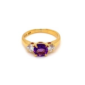 Tiffany & Co. Diamond Amethyst 18k Yellow Gold 3 Stone Ring