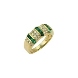 Queen Emerald & Diamond 18k Yellow Gold 8mm Wide Band Ring