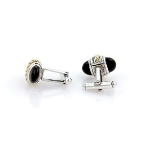 David Yurman Onyx 14k Yellow Gold & Silver Cable Cufflinks & 4 Stud Set
