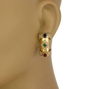 Estate 1.00ct Diamond 18k Yellow Gold Sapphire Ruby Emerald Long Earrings