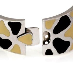 65852Roberto Coin Giraffe Coin Black & Cream Enamel 18k White Gold Wide Bracelet
