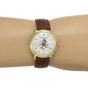 59584 Tiffany & Co. Vintage Micky Mouse Hand Wind Gold Plated Steel Case Watch