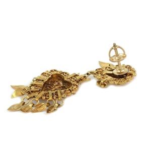 Antique Double Hearts Filigree Mini Heart Tassel 14k Yellow Gold Dangle Earrings