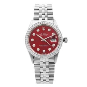 Rolex Datejust 1.20 Cttw Custom Diamond Red Dial Mens 1985 Watch 16014