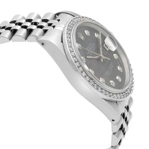 Rolex Datejust Steel 1.20 Cttw Custom Diamond MOP Dial Mens 1989 Watch 16220