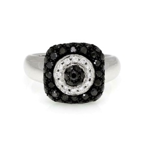 Chopard 1.15ct Black & White Diamond 18k White Gold Ring Size - 6
