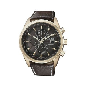 Citizen Eco-Drive Chronograph Chocolate Dial Mens Watch AT8019-02W