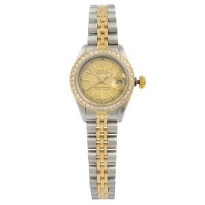 Rolex Datejust 18K Yellow Gold Steel Custom Diamonds Satin Dial Watch 69173