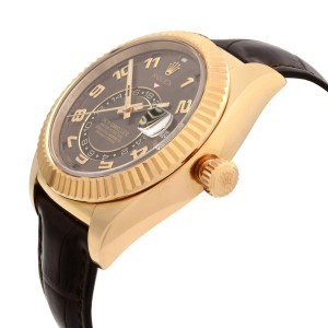 Rolex Sky-Dweller 18K Rose Gold Chocolate Dial Leather Automatic Watch 326135
