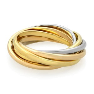 Cartier Trinity 18k Three Tone Gold 7 Band Rolling Ring Size 44