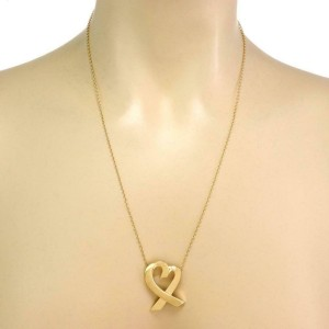 Tiffany & Co. Picasso 18k Yellow Gold Loving Heart Large Pendant Chain