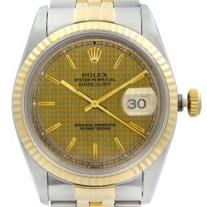 Rolex Datejust 36mm Holes 18K Yellow Gold Steel Honeycomb Dial Mens Watch 16233