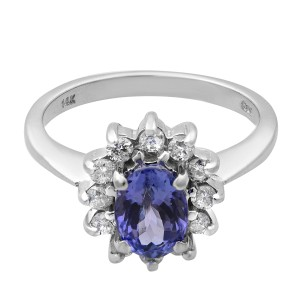 Rachel Koen 14K White Gold Tanzanite Diamond Engagement Ring Size 6.75