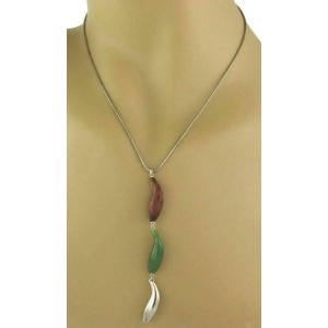 Tiffany & Co. Frank Gehry Jade Wood Sterling Silver Triple Fish Pendant