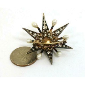 Antique 7.50ct Old Mine Cut Diamonds & Pearls Star Brooch Pendant in 14k Gold