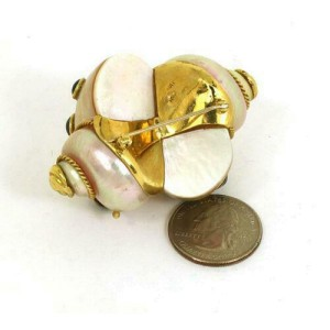 Designer Signed 5.00ct Sapphire 18k Yellow Gold Sea Snail Shell Pin Brooch