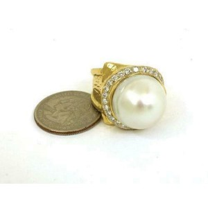 Gorgeous 18mm South Sea Pearl Diamond 18k Gold Cocktail Ring Size 9.5