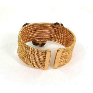 Alessandro Fanfani Diamonds & Enamel 18k Rose Gold Bow Design Wide Cuff Bracelet