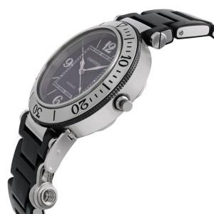 Cartier Pasha Seatimer Steel Plastic Black Dial Automatic Mens Watch W31077U2