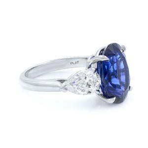 Platinum Oval Cut Sapphire & Diamonds Three Stone Engagement Ring CDC 5.13ct