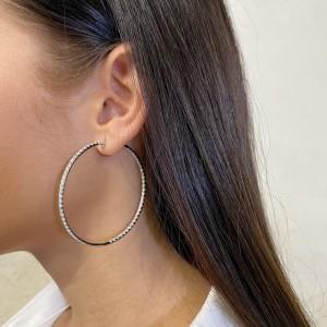 Rachel Koen 18K White Gold Pave Diamond Large Hoop Earrings 4.00cttw