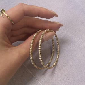 Rachel Koen 18K Yellow Gold Pave Diamond Large Hoop Earrings 5.25cttw