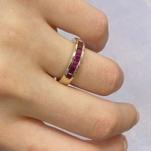 Rachel Koen 14K Yellow Gold Princess Cut Pink Ruby Band Ring 0.84cttw Size 6