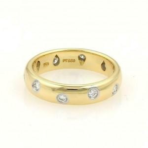 Tiffany & Co. Etoile Diamond 18k Gold Platinum 4.5mm Band Ring Size 7