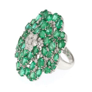Large 12.10ct Emerald Diamond 18k White Gold Floral Ring Size 7