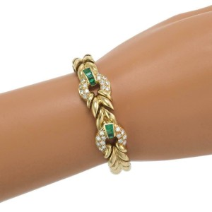 Estate 2.50ct Diamond Emerald 18k Yellow Gold Door Knocker Fancy Bracelet