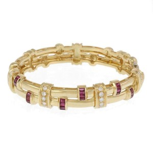 66073 Beautiful 3.40ct Diamond Ruby 18k Yellow Gold Fancy Link Bangle Bracelet