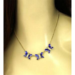 Diamond & Enamel 14k Yellow Gold Triple Butterfly Pendant Necklace