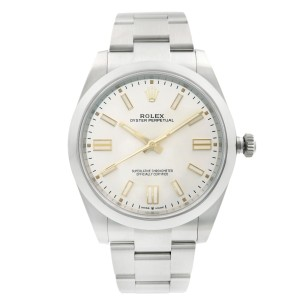 Rolex Oyster Perpetual 41MM Steel Silver Dial Automatic Mens Watch 124300SSO