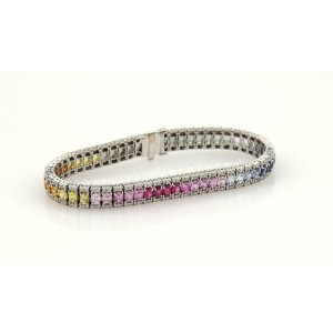 14.40ct Diamond & Multi-Color Sapphires Rainbow 18k White Gold Tennis Bracelet