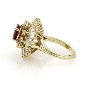 Estate 5.50ct Diamonds & Pink Sapphire 14k Gold Cocktail Ring Size 6.75