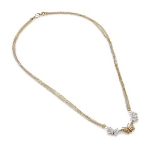14k Two Tone Gold Diamond 3 Butterfly Pendant Multi-Chain Necklace