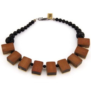 Antique Sterling Silver Wooden Mahjong Tile Necklace w/ Carved Obsidian & Onyx
