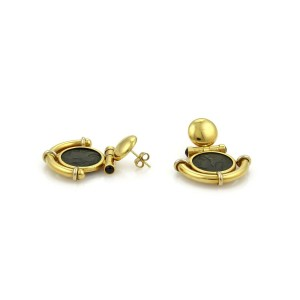 Antique Style Bronze Coin Sapphires 18k Yellow Gold Fancy Dangle Earrings
