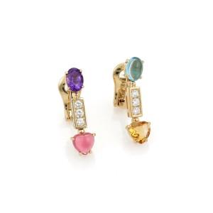 Bvlgari Bulgari Alegra 4.30ct Diamond & Gems 18k Yellow Gold Long Earrings