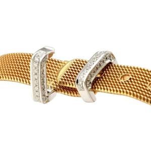 18k Two Tone Gold Diamond 11mm Wide Mesh Belt Buckle Bracelet