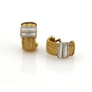 Roberto Coin Diamonds Mother of Pearl 18k Gold Basket Woven Hoop Earrings  Box