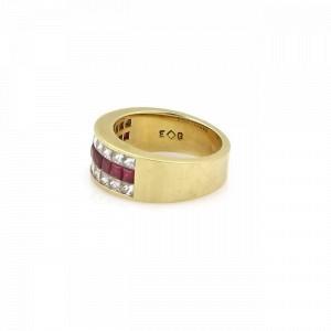 Beautiful 1.95ct Princess Cut Diamond & Ruby 18k Yellow Gold Band Ring