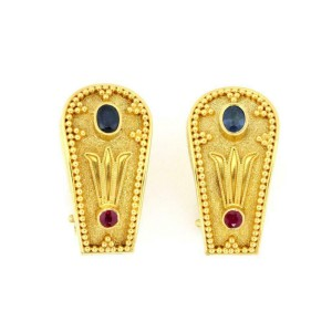 18k Yellow Gold Sapphire & Ruby Greek Style Floral Post Clip Earrings